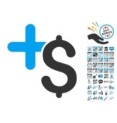 Pay medicine icon with 2017 year bonus symbols vector