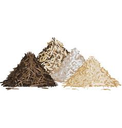 Rice pile set vector