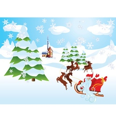 Santa riding reindeer sleigh2 vector