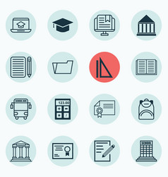 Set of 16 education icons includes certificate vector