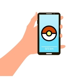 Smartphone in hand with the image of the game vector