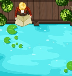 Top view of man reading near the river vector