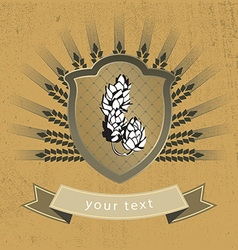Vintage logo malt and hops vector