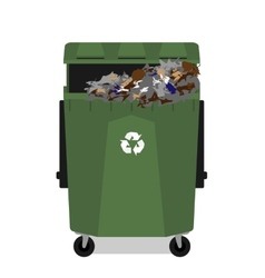 Wheeled garbage can with recycling symbol full vector