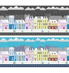 Winter flat design urban landscape vector image