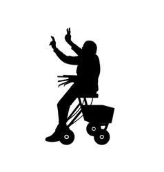Woman with rollator vector