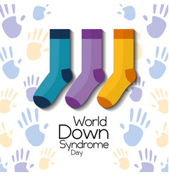 world down syndrome day childrenhood hands and vector image
