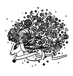 Zentangle deer drawing vector image vector image