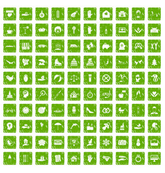 100 joy icons set grunge green vector image vector image