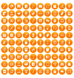 100 office work icons set orange vector