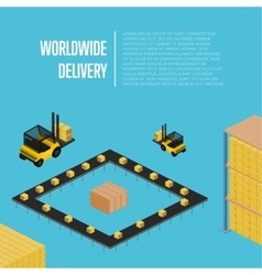 Worldwide delivery isometric concept vector