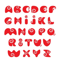 Abc - english alphabet - red funny spiral cartoon vector