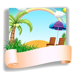 A beach chair and an umbrella with a signage vector