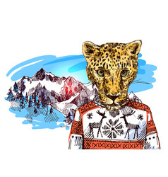 Cheetah in mountains vector