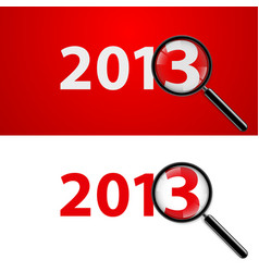 a magnifying glass and new year over white vector image