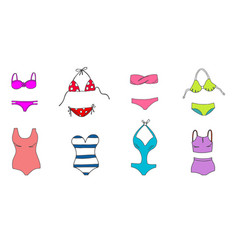 women colorful swimsuit design set fashion bikini vector image