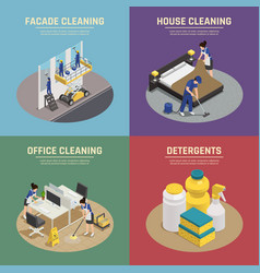 Professional cleaning isometric compositions vector