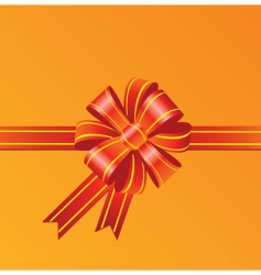 Red bow on orange background vector