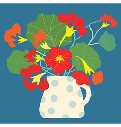 Greeting card with flowers and pot bright vector