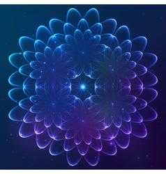 Blue shining cosmic flower vector image