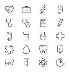Healthcare and medical icons line vector
