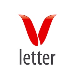 Abstract logo red letter v vector