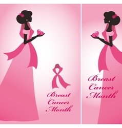 Breast cancer awareness bannerswomanpink ribon vector