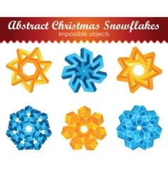 Collection of six impossible christmas snowflakes vector