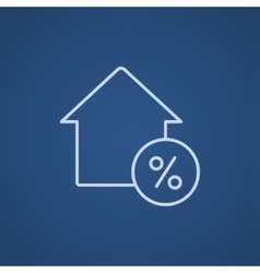 House with discount tag line icon vector