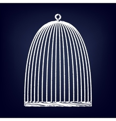 Bird cage with chalk effect vector