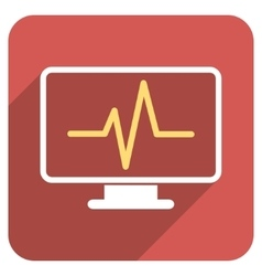 Pulse monitoring flat rounded square icon with vector