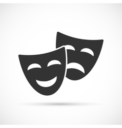 Comedy and tragedy theatrical masks icons vector image