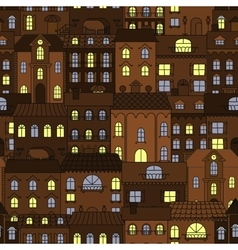 Old town at night retro seamless pattern vector