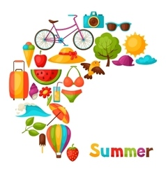 Background with stylized summer objects design vector