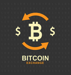 bitcoin exchange concept cryptocurrency sign vector image