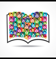 Book icon colorful graduate student icons vector