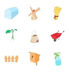 Care garden icons set cartoon style vector image