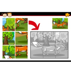 cartoon fox jigsaw puzzle game vector image vector image