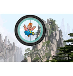 Cartoon man flying in the mountains the view vector