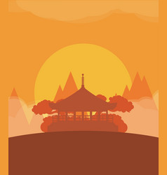 china flat design travel sunset vector image vector image