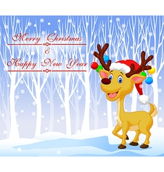 Christmas deer cartoon wearing red hat with winter vector image