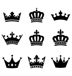 Collection of crown silhouette symbols vector image