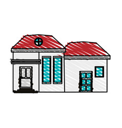 Color crayon stripe cartoon facade modern house vector