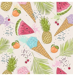 Cute seamless pattern with ice creams pineapples vector