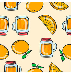 doodle orange drink theme art vector image