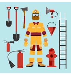 Flat firefighter uniform and tools equipment vector