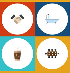 Flat icon life set of tub partnership cappuccino vector
