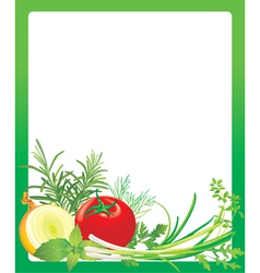 Frame with vegetables and herbs vector image vector image