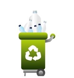 garbage bin with plastic bottles vector image vector image