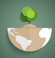 Green eco earth paper green tree on globe vector